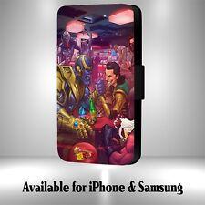 Funny Thanos Loki Hand Fight Marvel Art Faux Leather Flip Phone Case M30i