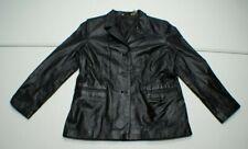 Massini Womens L Black LEATHER Blazer Jacket