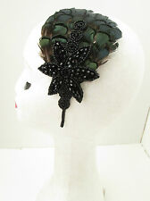 Dark Emerald Green Black Feather Headpiece Fascinator Headband Vintage 1940s Y46