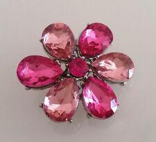 Brosche Anstecknadel 3,5 cm Blume Mode Steine Strass-Stein rosa pink *NEU*