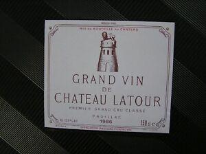 01 ETIQUETTE  CHATEAU LATOUR 1986 FORMAT MAGNUM 150 CL
