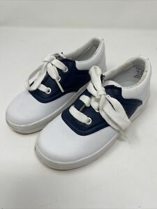 Keds Toddler Preschool Saddle Shoes Size 10 Girl Boy Navy and White with Laces