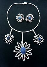 Vtg Taxco Mexican Sterling Silver Blue Stone Flower Necklace Earrings Set 23437