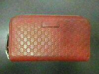 Auth GUCCI Micro Guccissima Zip Around Long Wallet 449198 Red Leather 86440