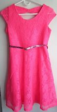 Justice for Girls Neon Pink Lace Overlay Keyhole Glitter Belted Dress Sz 14