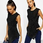 734 Women's Metallic Stripe Asymmetric Sleeveless Black/Silver Top Size 10 12 14