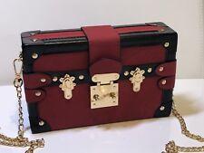 0df8a95545 Luxury Brand Women Metal Lock Messenger Bag Clutch Box Shape Patchwork  Handbag