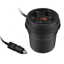 Car Charger Mount 2 Cigarette Lighter Socket Stand Dual USB Charging Cup Holder