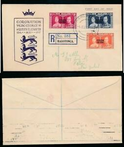 COOK ISLANDS 1937 CORONATION ILLUSTRATED FDC REGISTERED RAROTONGA