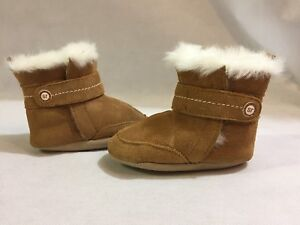 Stride Rite Winter Boots Baby Toddlers, Brown Leather fur Lined, Size 3-6 Months