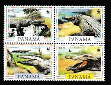 WWF American Crocodile mnh block of 4 stamps 1997 Panama #846