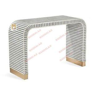 Bone Inlay Console Table Modern Waterfall Handmade Furniture. With insurance