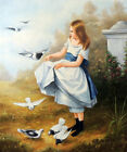 Pretty Girl Feeding Birds Classic Style 20X24 Oil Painting STRETCHED CANVAS
