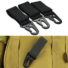 Military Nylon Webbing Key Metal Hook Buckle Hanging Belt Carabiner Clip Black ~