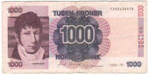 Norway 1000 Kroner 1990 P-45a