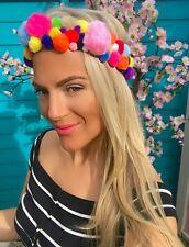 Multi Coloured Rainbow Pom Pom Hair Head Band Choochie Summer Festival Party
