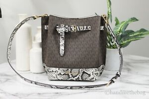 Michael Kors Emilia Small Signature Leather Snakeskin Print Bucket Messenger Bag