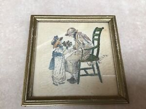 Vintage Painting / Print On silk after Kate Greenaway Girl Lady C1930 Buzza Co