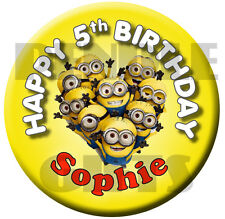 MINIONS CELEBRATION PERSONALISED BIRTHDAY BADGE - 58mm