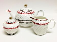 NEW 3 PC GRACE WHITE+RED+GRAY+GOLD PORCELAIN TEA+COFFEE POT,CREAMER,SUGAR HOLD