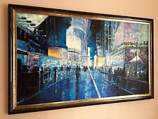 Cityscape, palette Knife, night life ,Textured Oil Painting On Canvas, Framed.