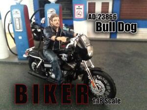 Biker Bull Dog Motorradfahrer Modell Figur 1:18 American Diorama AD-23866