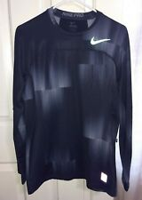 Nike Pro Hyperwarm crew neck training shirt sz lg grey men Dri-Fit silver logo