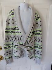 JUSTICE Gray/Black/Green Long Sleeve Cardigan Sweater W/Belt Size 14 Girl's EUC