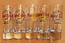 """Hard Rock Cafe Lot 5 4"""" Shot Gasses 2x Honolulu San Diego Denver & Chicago"""