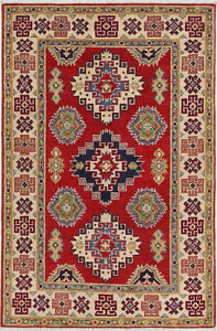 3x5 Hand-Knotted Kazak Carpet Tribal Red Fine Wool Area Rug D57186