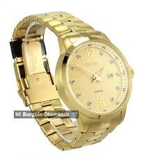 mens Elgin diamond gold business dress watch calendar date bracelet Elgin box