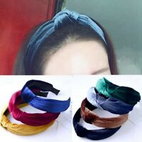 Womens Headband Twist Bow Knot Cross Tie Velvet Head Wrap Hair Band Hoop Balss