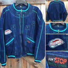 Vintage Don'T Stop Designer Jackets 80s Denim Bomber Jacket M Hop Hop Football