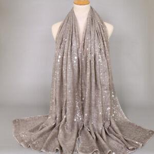 Women's Viscose Scarf Shawls Muslim Head Wrap Hijab Scarves Shimmer Glitter Soft