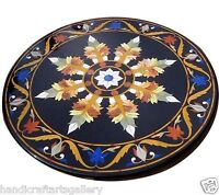 "30""x30"" Marble Coffee Table Top Marquetry Inlaid Mosaic Floral Handmade Decors"