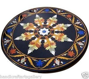 """30""""x30"""" Black Marble Coffee Table Top Marquetry Inlaid Mosaic Floral Decor H2506"""