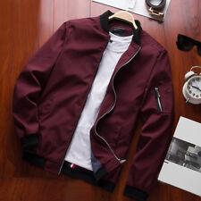 2017 Mens Zipper Casual Work Fight Bomber Coat Thin Fashion Baseball Jacket PLUS