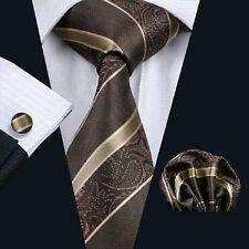 NUOVO Designer brown & Beige a Righe Cravatta Di Seta Fazzoletto & Gemelli