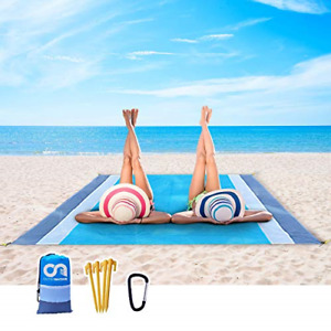 Beach Blanket Portable Outdoor Sand Proof and Waterproof Picnic Beach Mat for 4