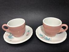Shenango China  Pink Demitasse Cup & Saucer Aqua Pink Gray Leaf Pattern