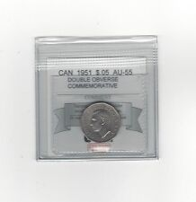 **1951 Dbl Obv.**, Coin Mart Graded Canadian, Five Cent, **AU-55**