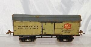 Prewar IVES 12581 MKT Southwest boxcar O 1925 Missouri Kansas Texas tin train