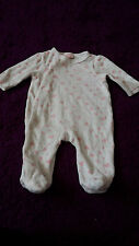Baby girl velour white playsuit 0-3 mths by Boo Bear