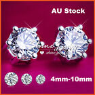 18K WHITE GOLD GF SILVER CT SIMULATED DIAMOND MEN WOMEN KIDS ROUND STUD EARRINGS