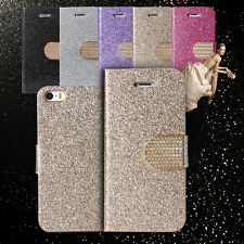 Crystal Diamond Glitter Bling Flip Wallet Stand Case Cover For iPhone 5 5S SE
