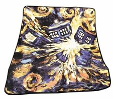Doctor Who Dr Exploding TARDIS Police Box Opens Throw Blanket Fleece Gift