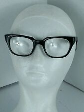 Vintage 1950s Thick Black Horn Rimmed Glasses Buddy Holly Italian Framed W/CASE