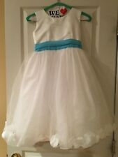 TIP TOP White Flower Girl Dress With Detachable Turquoise Sash size 6
