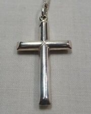 Silver Cross Pendant Necklace with 16inch (40.5cm) length Chain