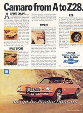 1973 Chevrolet Camaro A to Z28 -  Original Advertisement Print Art Car Ad J766